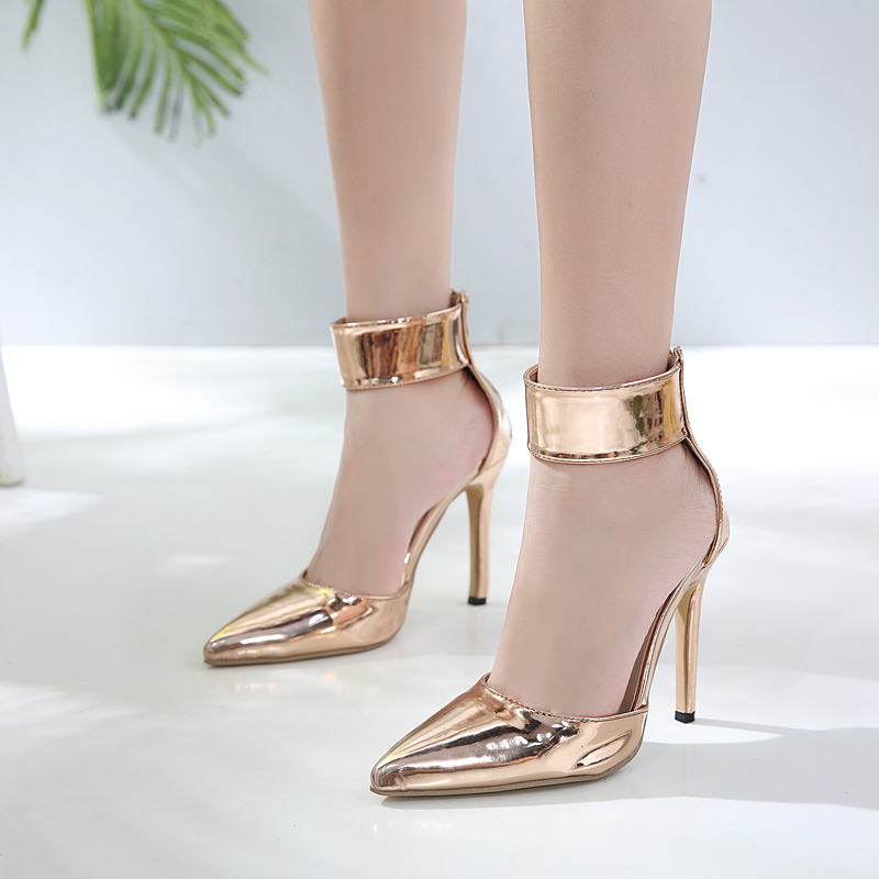 category/Shoes/champagne Women Sandals Clear Heel Crystal Pumps Peep Toe Cr...