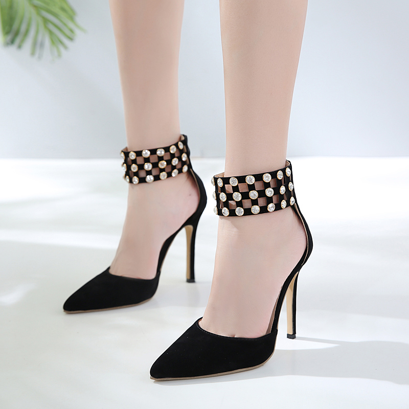 category/Shoes/Rhinestone Gladiator Sandals Open Toe High Heel Sandals Crys...