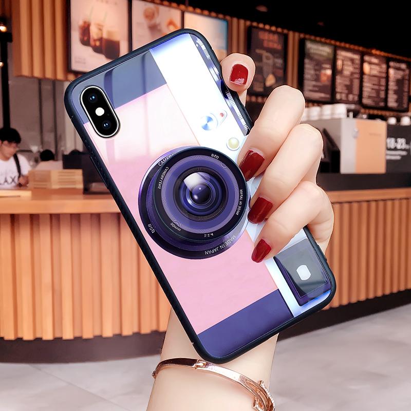 新款潮牌iphoneX手机壳8气囊支架苹果7玻璃菱格iphone8黑色7P保护套iphone7相机图腾10女款时尚X个性包边硬壳