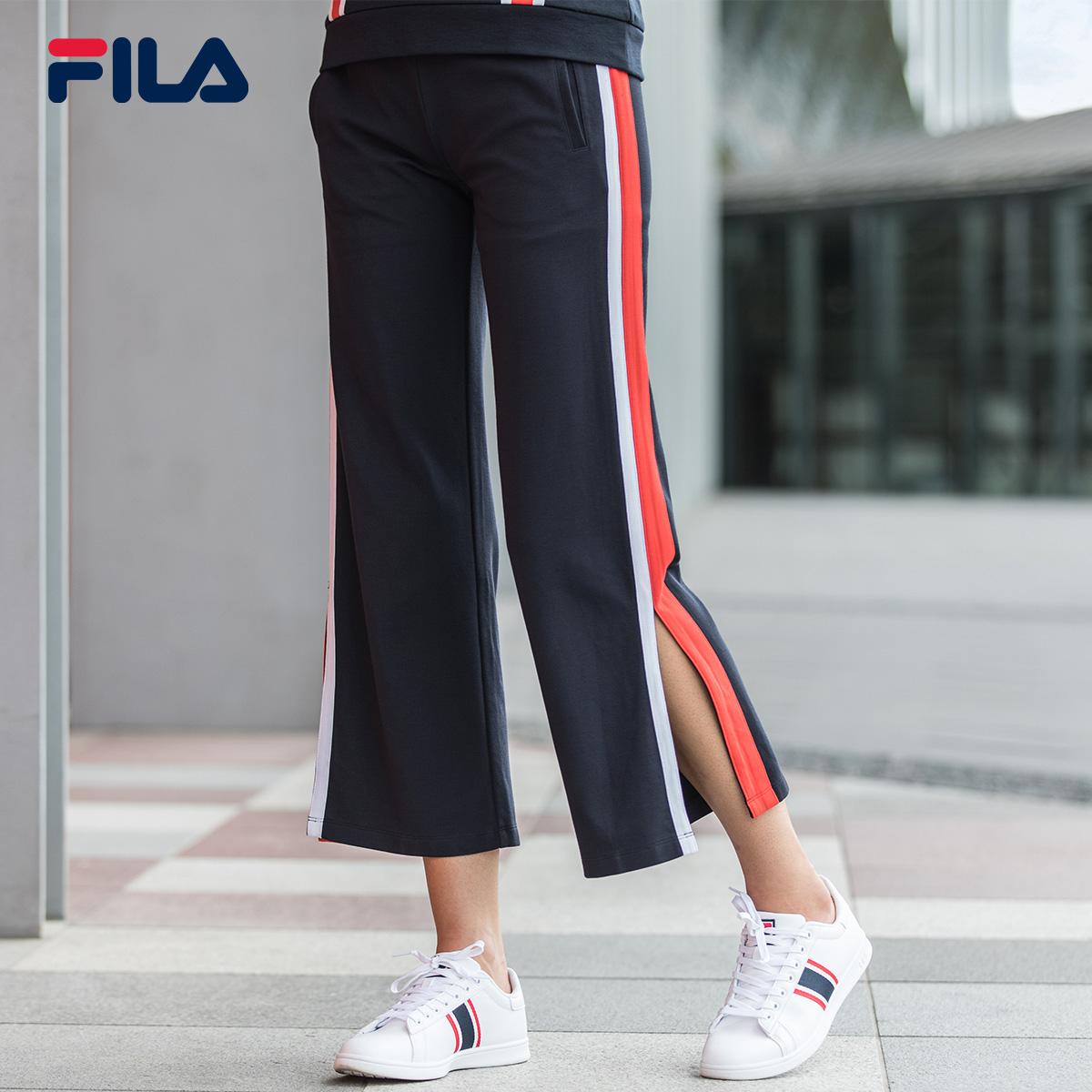 FILA斐乐女裤2018官方正品运动长裤女条纹舒适开叉阔腿裤女