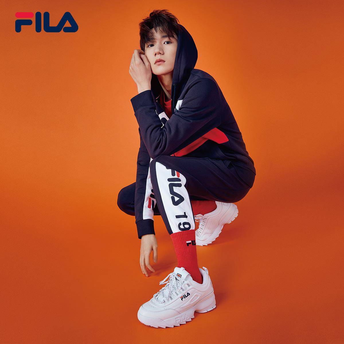 FILA斐乐王源同款男鞋2018秋季新款复古跑鞋拼接时尚皮面运动鞋男