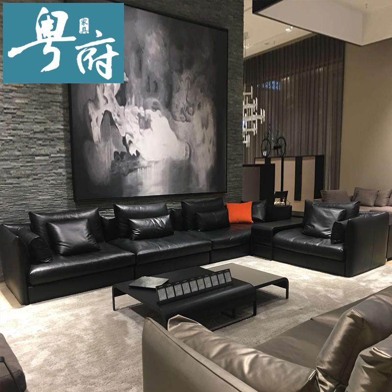 北欧头层牛皮羽绒真皮沙发组合客厅黑色皮沙发现代简约整装家具