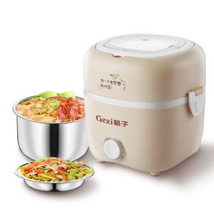 格子电热饭盒上班族可插电保温加热饭盒便携蒸煮带饭锅迷你热饭器