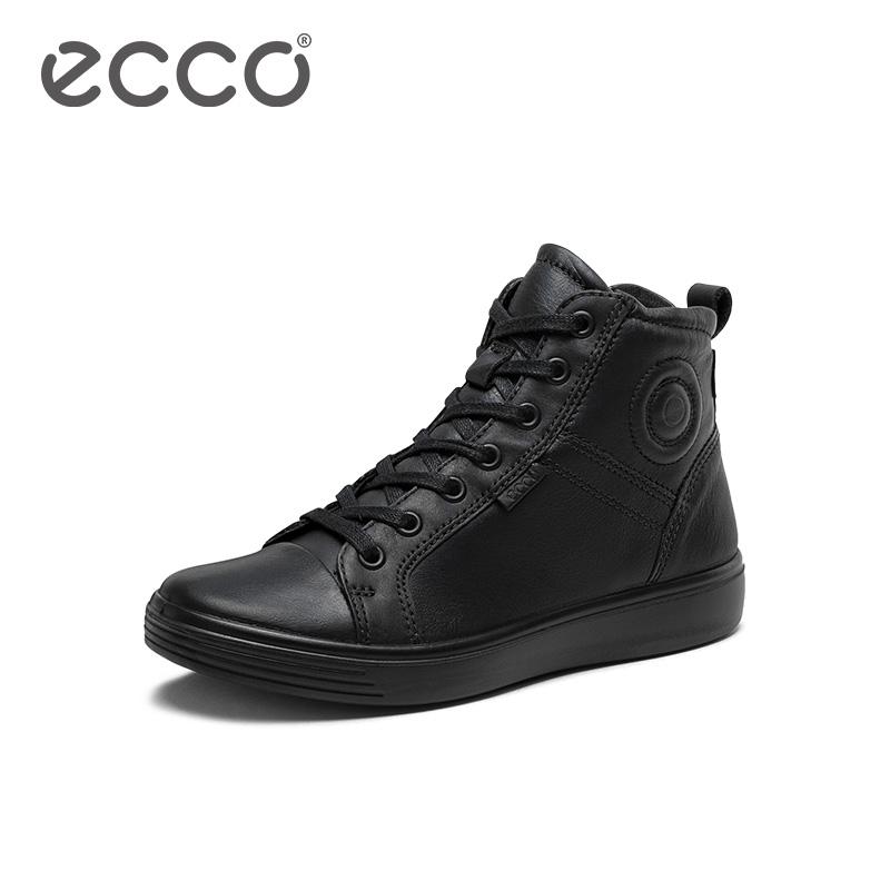 ECCO爱步2019新款童鞋 黑色系带高帮鞋休闲鞋男 柔酷青春780293