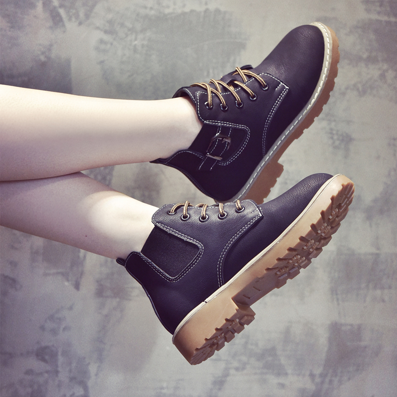 The new autumn and winter 2017 Martin boots female British style Korean wild female plus velvet boots Chelsea boots women shoes
