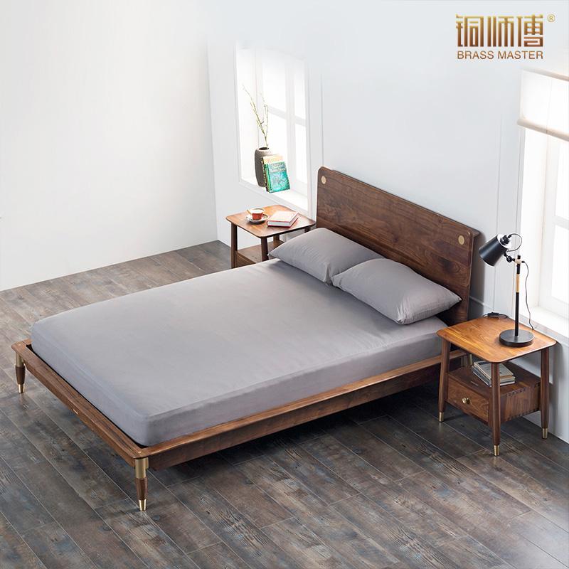 铜师傅 铜木家具 塞尚卧室家具 美国黑胡桃 黄铜 实木床 零甲醛