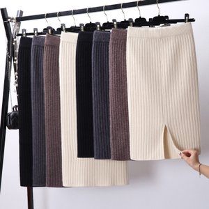 开叉针织半身裙秋冬韩版新款弹力针织裙毛线包臀裙一步裙中长裙女