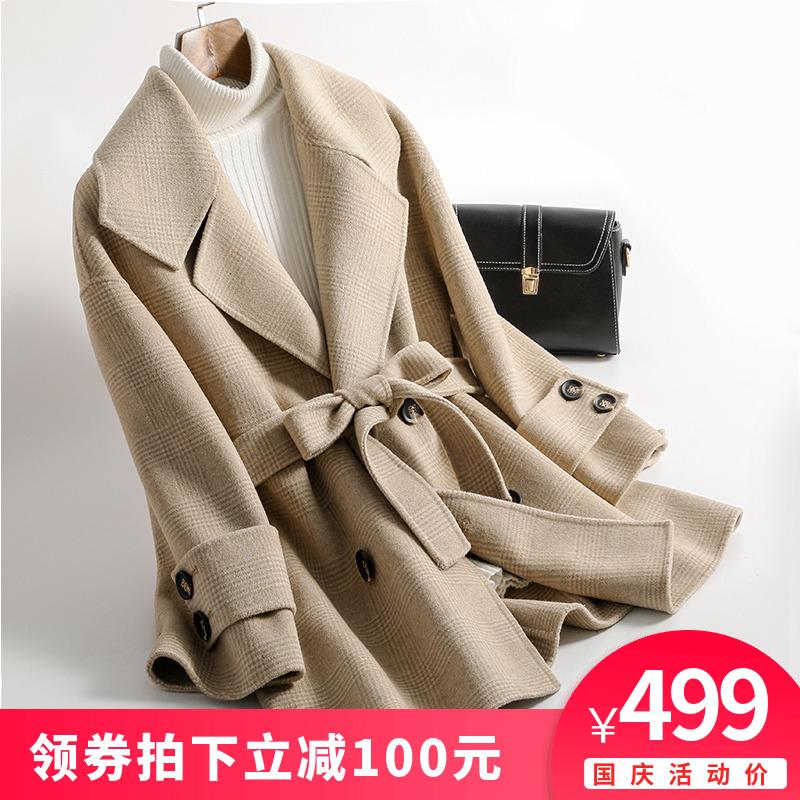 2018新款小个子流行格子短款双面羊绒大衣中长款修身毛呢子外套女