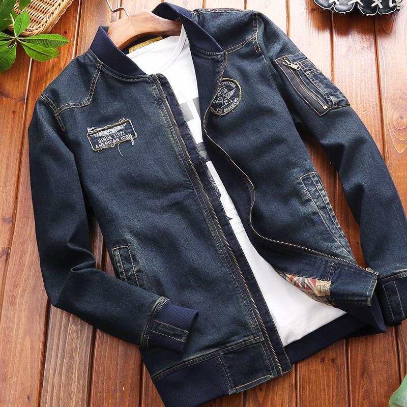 秋季男士外套韩版修身复古牛仔夹克加大码短款棒球服男装潮流衣服