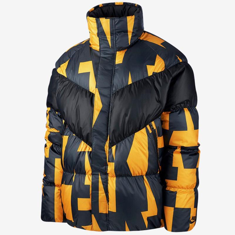 耐克男装2018冬款运动休闲保暖防风外套黑黄拼色羽绒服928890-752