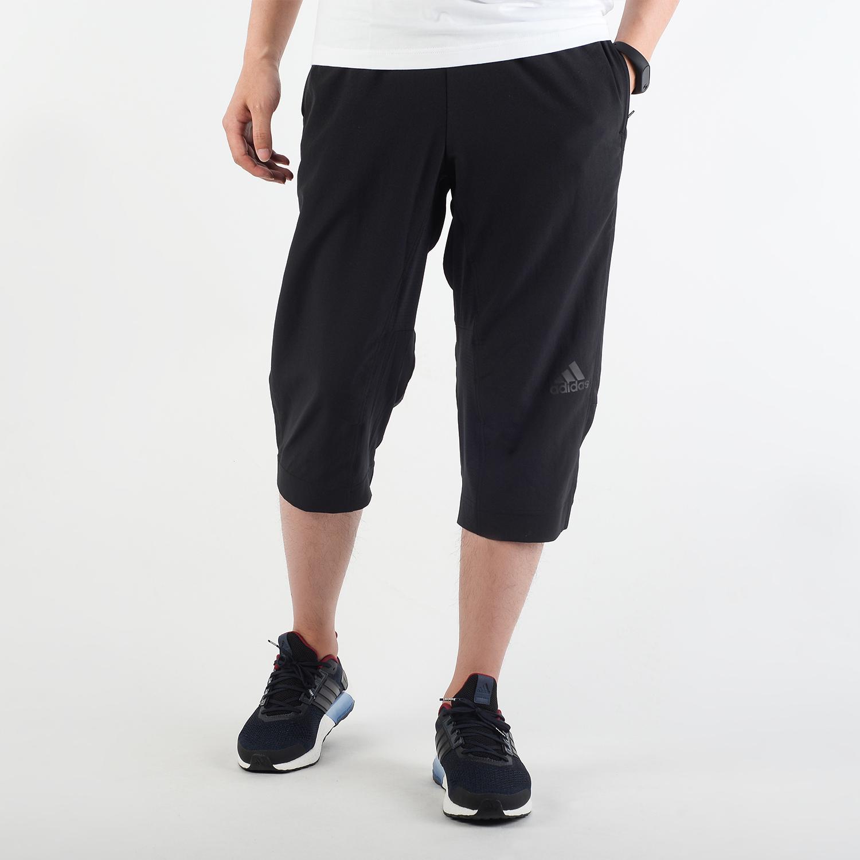 阿迪达斯男中裤2018夏季款直筒透气跑步运动七分裤中裤短裤BK0982