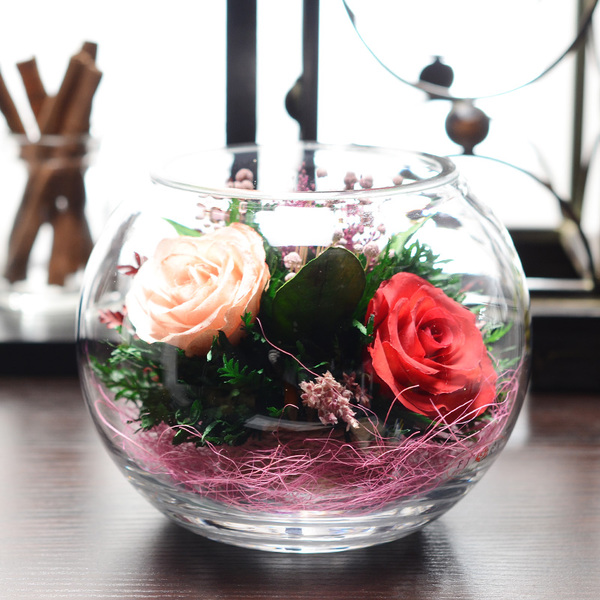 Thailand Imported Outside The Vacuum Spend Eternity Preserved Flowers Glass Elegant And Romantic Roses Never Fade Tricolor