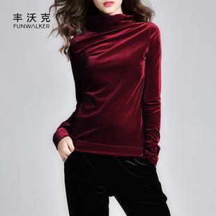 新款金丝绒打底衫韩版长袖大码简约百搭体恤