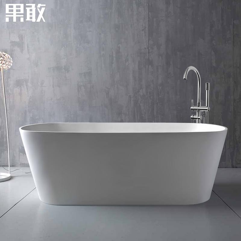 独立式浴缸家用成人情侣小户型薄边彩色深保温浴缸1.2 -1.7米045