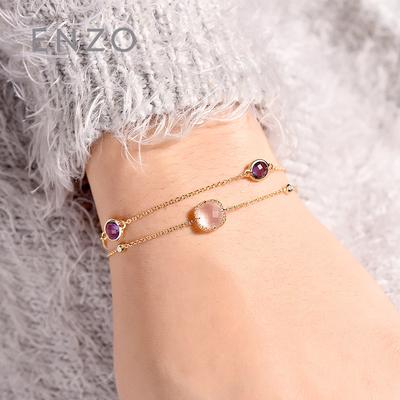enzo珠宝 戛纳 18K金镶嵌芙蓉石紫晶手链 叠戴套餐彩色宝石手绳链