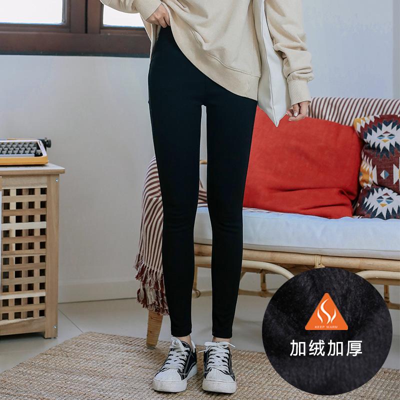 加绒牛仔裤女松紧高腰冬韩版显瘦灰黑色加厚小脚带绒长裤2018新款