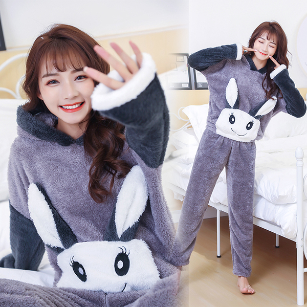 Real Shot Winter New Thick Coral Fleece Pajamas Female Cute Student Meng Eye Rabbit Plush Home Service
