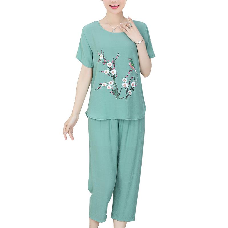 中老年女装夏装短袖棉麻两件套妈妈时尚上衣中年2020新款洋气套装