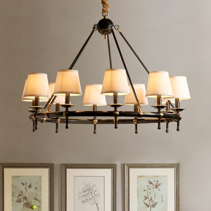 凯乔简约美式吊灯大气复古客厅灯家用创意卧室餐厅灯美式全铜灯具