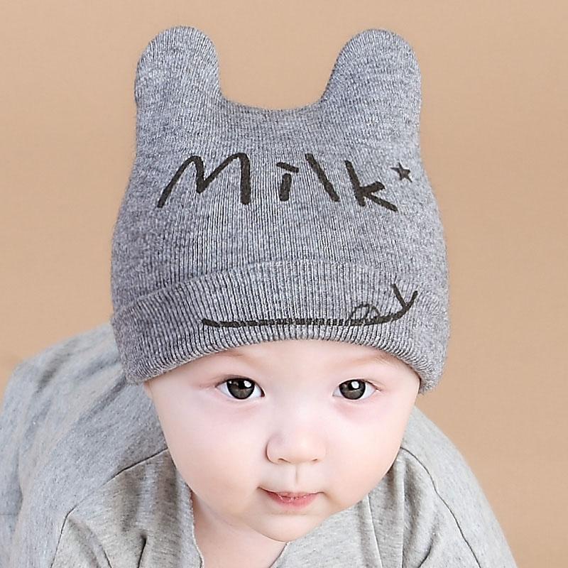 熊朵秋冬款宝宝帽子6-12个月婴儿套头帽男女童韩版可爱毛线护耳帽产品展示图3