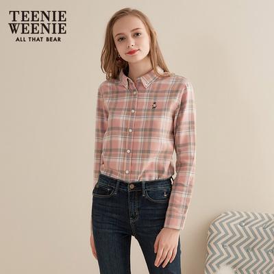 Teenie Weenie小熊2018冬装新款长袖格子衬衫女韩范学生上衣潮