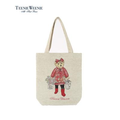 Teenie Weenie小熊2018新品女单肩手提雪尼尔提花包袋TTEB8S304O