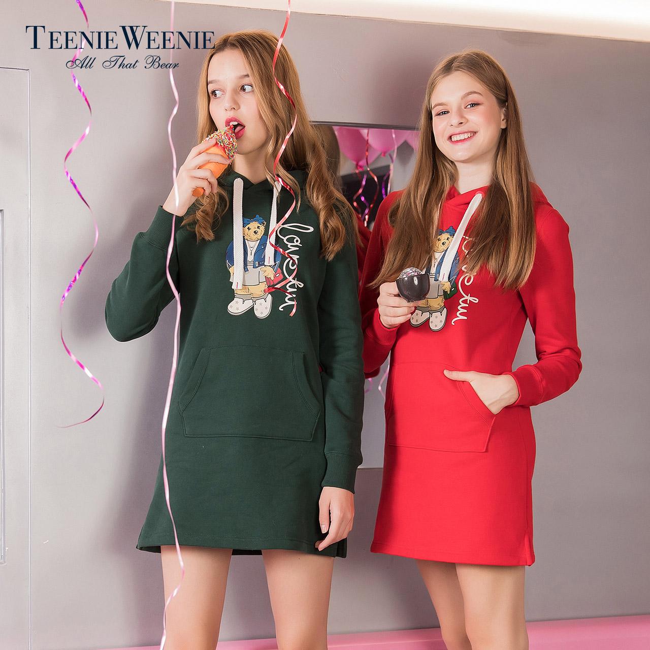 Teenie Weenie小熊女连帽中长款系带套头卫衣时尚上衣TTMW78V01I