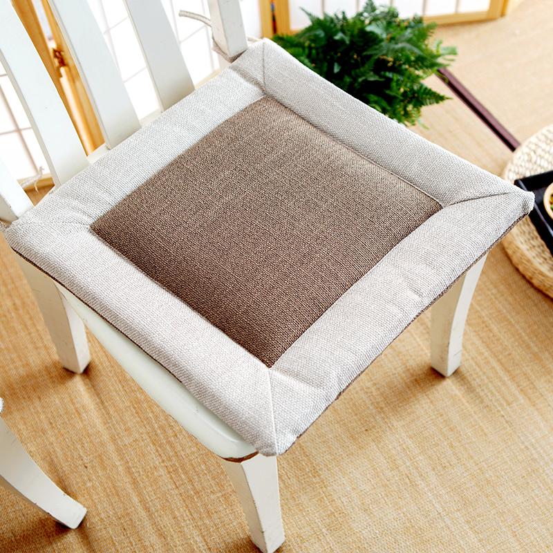 日式亚麻坐垫家用客厅坐垫餐椅椅垫方形榻榻米飘窗垫禅意加厚透气