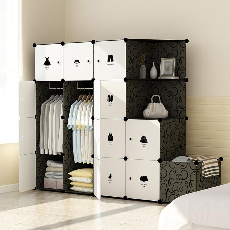简易衣柜塑料组装仿实木省空间衣橱卧室推拉门简约现代经济型衣柜