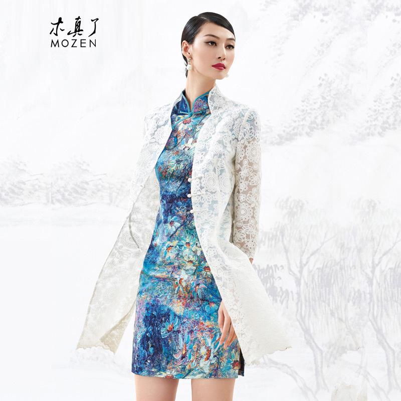 木真了旗袍外搭欧根纱风衣薄款白色开衫蕾丝女上衣秋装新品53393