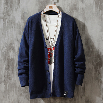 Men Sweater Cardigain 2020 Spring and Autumn New Men Jacket Korean Version Trend Japanese Personality Sweater 084746