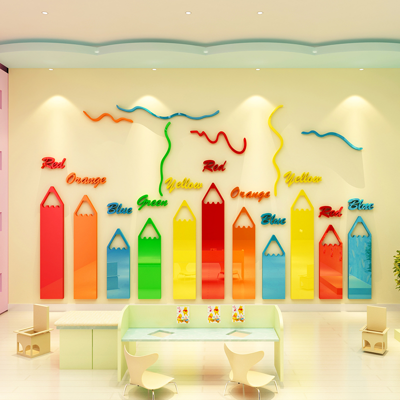 Crayon acrylic wall stickers 3d three-dimensional kindergarten ...