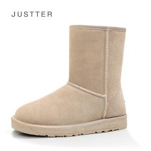 Justter新款雪地靴PD5825女鞋冬季牛皮女靴中筒靴子加厚底雪地棉