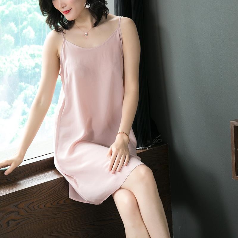 真丝吊带裙女打底内搭衬裙 夏季宽松中长款纯色桑蚕丝连衣裙