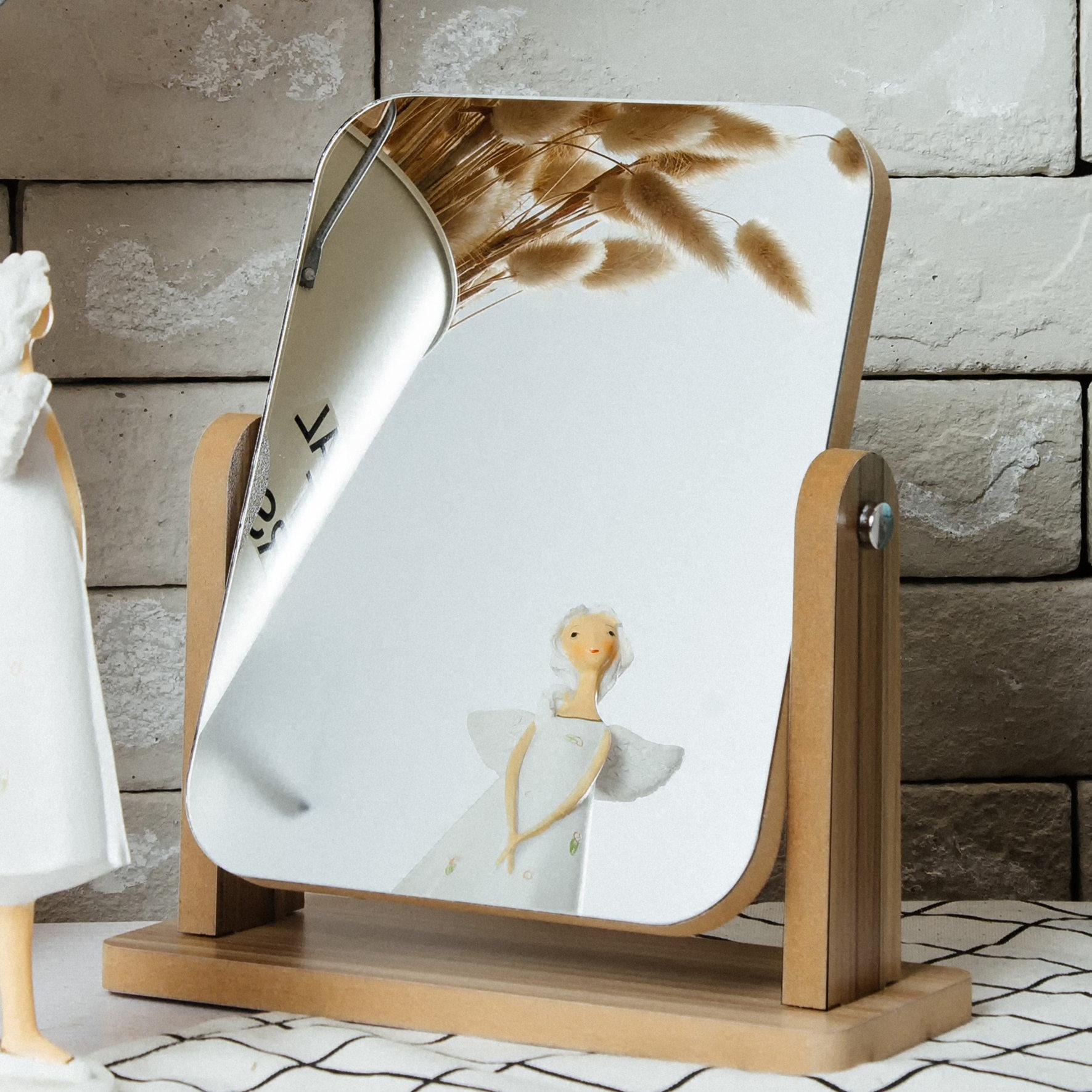 新款木质台式化妆镜子 高清单面梳妆镜美容镜 学生宿舍桌面镜大号