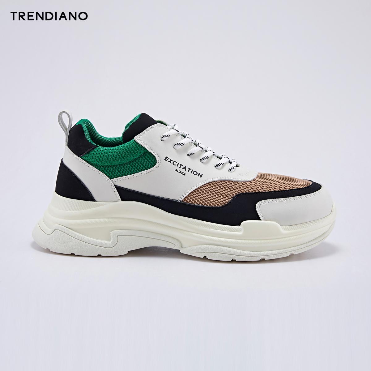 TRENDIANO新2018男装秋装撞色厚底拼接低帮运动老爹鞋3GA351810P