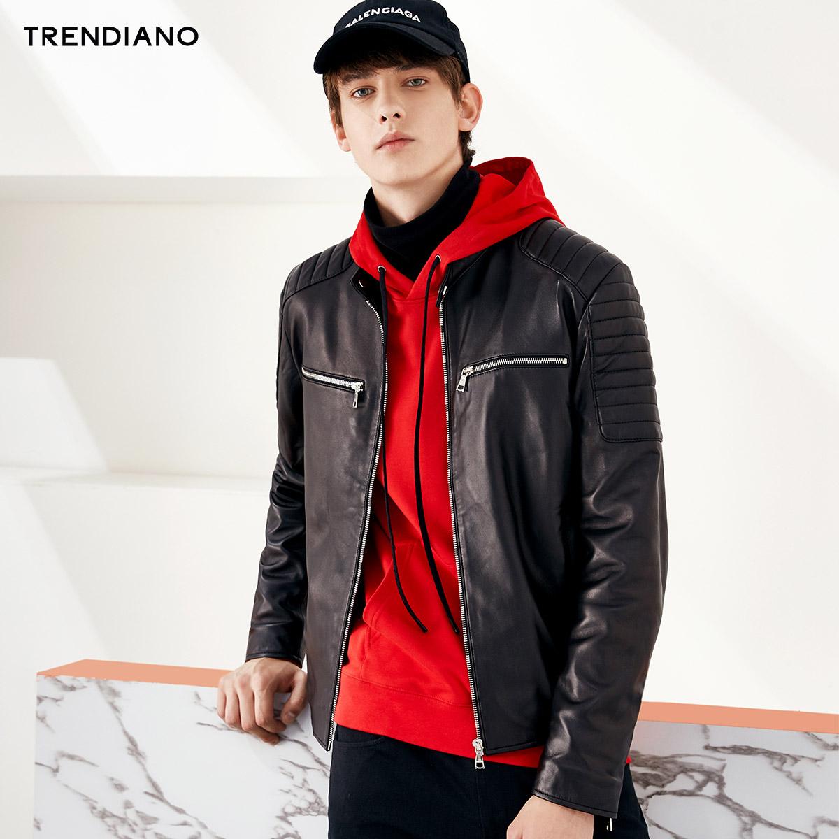 TRENDIANO男装秋装潮流纯色机车绵羊皮长袖皮衣外套3JC331827P