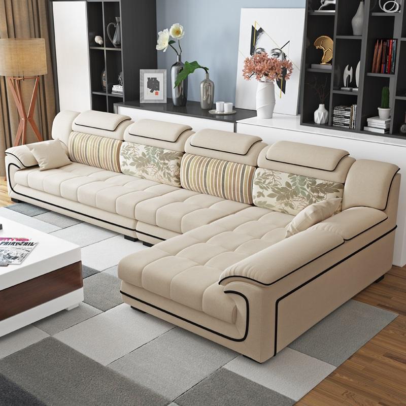 布艺沙发大小L户型组合客厅可拆洗转角整装家具现代简约乳胶沙发