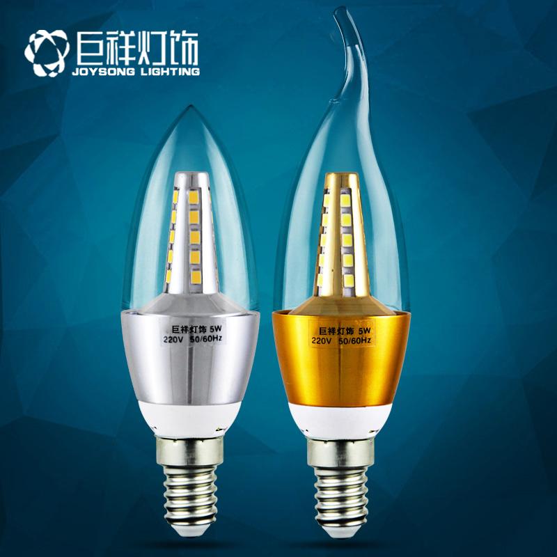 巨祥led蜡烛灯泡e14小螺口e27节能5W7W9W12W拉尾尖泡水晶吊灯光源