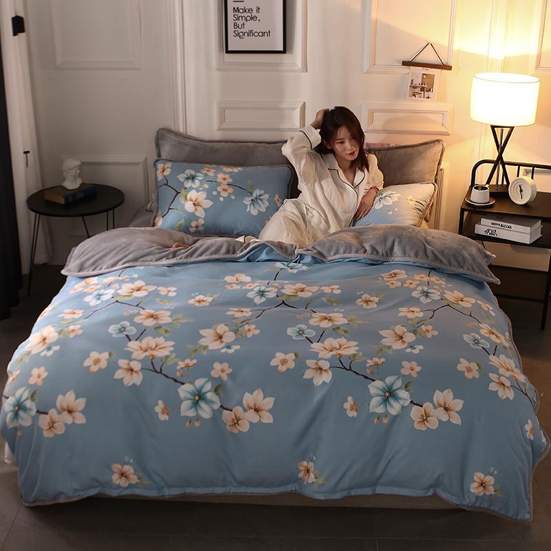 AB版法兰绒四件套加厚珊瑚绒保暖法莱绒冬季被套床单1.8床上用品