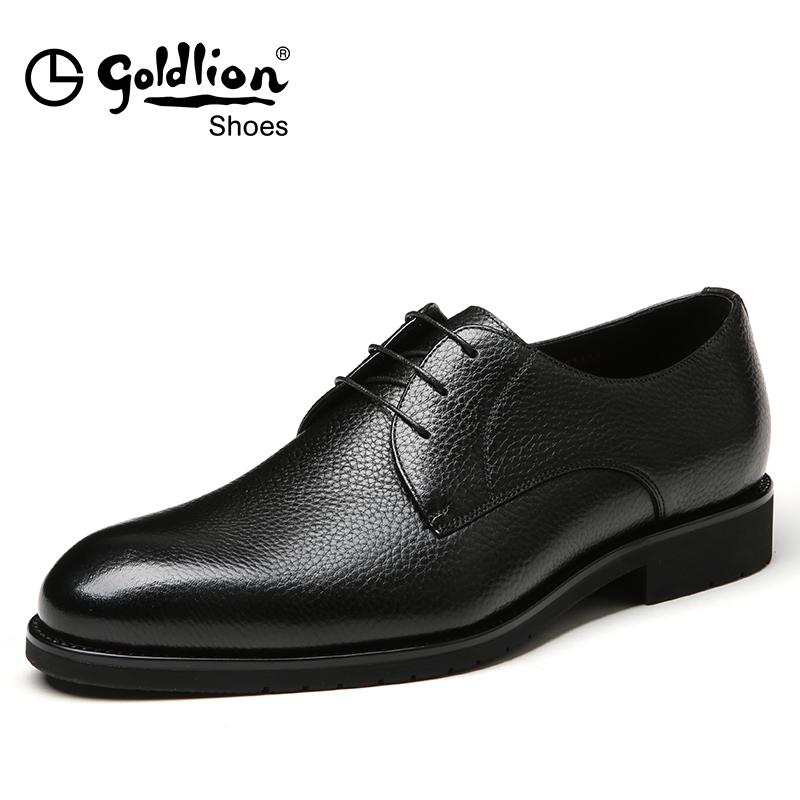 金利来新款男真皮圆头系带头层牛皮鞋黑色男士商务正装鞋婚皮鞋