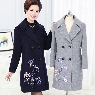 秋冬新款女装妈妈装秋款长袖上衣外套40岁50岁中老年绣花毛呢外套
