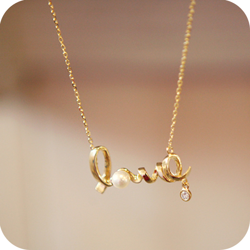 Korea Small Jewelry Wishing LOVE Bow Droplets Necklace Female ...