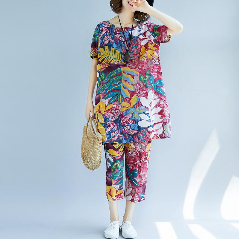 綿麻大花柄のズボンセット女性夏の新型民族風ビッグサイズTシャツ7分のワイドパンツ2枚,タオバオ代行-代行奈々
