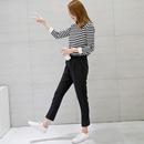 黑色裤子女2017新款秋九分裤韩版百搭直筒裤西装裤小脚萝卜休闲裤