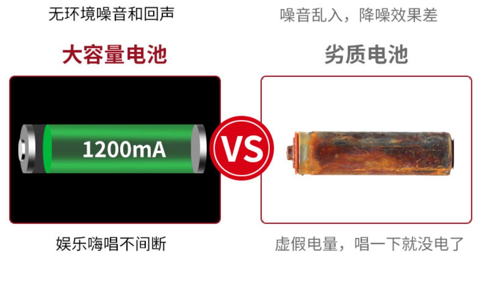 无环境噪音和回声噪音乱入,降噪效果差大容量电池劣质电池1200mA娱乐嗨唱不间断虚假电量,唱一下就没电了-推好价 | 品质生活 精选好价
