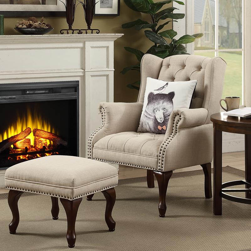 匠兴美式老虎椅 小户型客厅布艺单人沙发 高靠背复古乡村老虎凳子