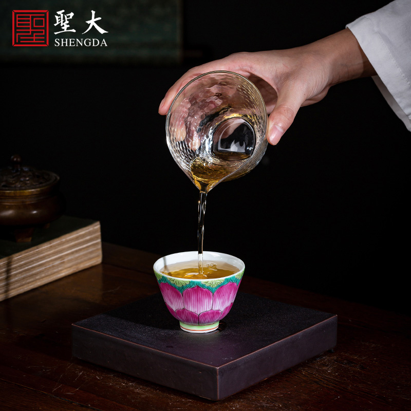 Holy big cup sample tea cup manual hand - made ceramic kungfu pastel lotus - shaped lines master cup of jingdezhen tea service by hand