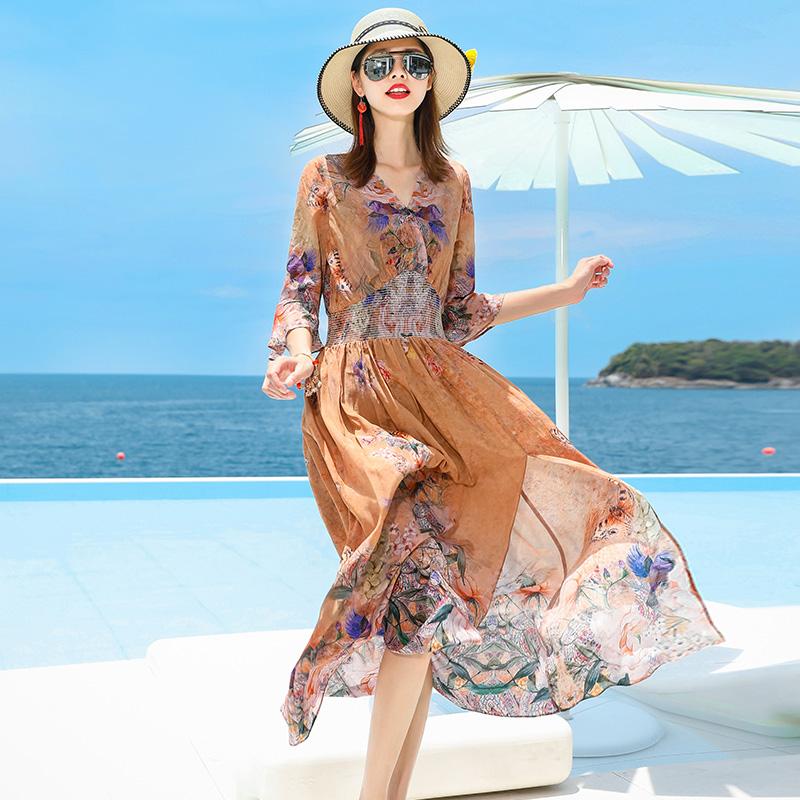 2018夏季新款中长款松紧腰印花真丝连衣裙收腰七分袖喇叭袖桑蚕丝