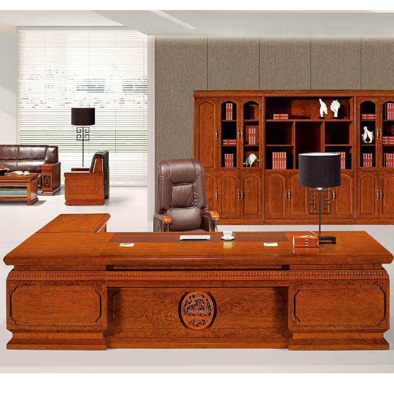 奥派办公家具老板桌总裁桌花梨木皮油漆大班桌经理桌新款现货